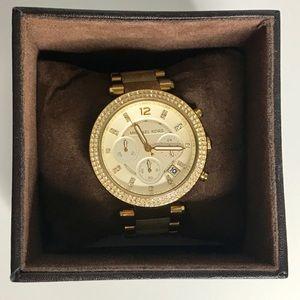Michael Kors Parker Gold Horn Chronograph Watch